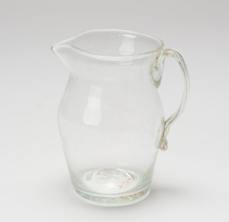 Pitcher, greenish; card dims H 4-3/4'