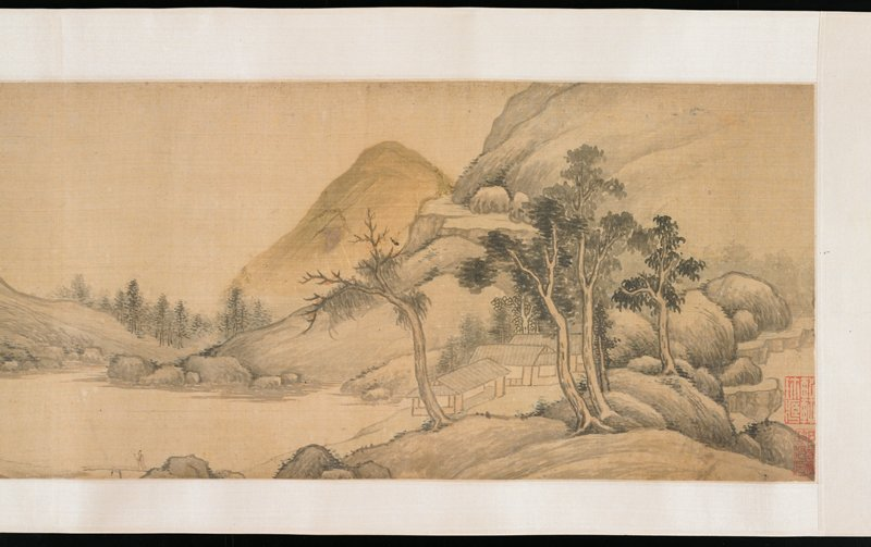 continuous landscape in mountains with river; buildings, small figures and flowering trees throughout; several boats on river