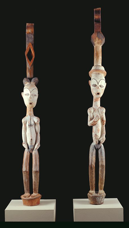 (one of a pair of door posts), wood and pigment; Gabon, Fang or Tsogo Tribes, XIXc.; Pahouin Group possible lintel supports