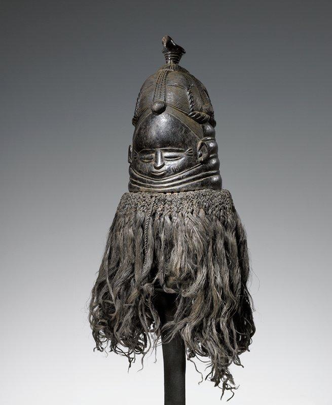 Mende Society Mask, wood and raffia, Mende Tribe, Sierra Leone, Africa, XIX c. Msmt.s of helmet only. *Med.Raffia ?- Poss. Human Hair!