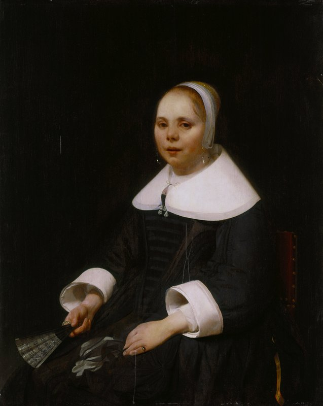 Dutch golden age. Three quarter length figure of a young woman in black, seated toward the left, but looking at the viewer. A thin film of lace is around her heard, and she wears a deep white collar and broad white cuffs. In one hand is a black fan, and by the other lie her black gloves. Dark background.