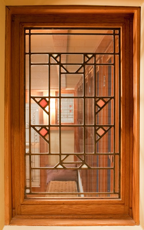 Window from Frank Lloyd Wright Little House, wood and glass
