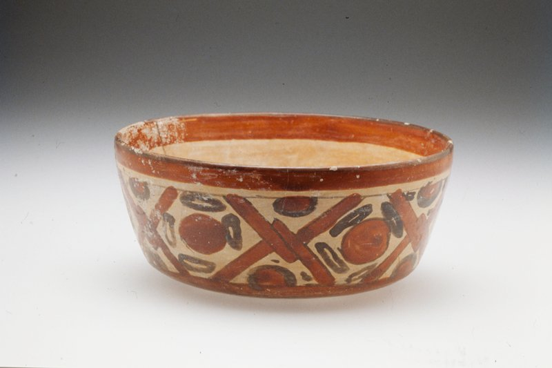 Bowl, ceramic, Mexican-Guatemalan (Mayan), VII-IXc cat. card dims H. 3 Dia. 6-3/4' NO PHOTO ON CAT. CARD