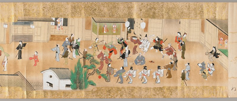 unsigned; six scenes of monthly festivals, a.(January) Water Fight and Bathing House, b.(February) T-fukuji Temple Nehane Festival, c.(March) Cockfight, d.(April) Woman Dancing, Wisteria Tree, Family Picnic, e.(May) Mock Battle of Boys, f.(June) Gion Festival