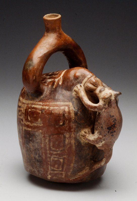 Jug with 2 Animals in Relief; polychromed ceramic, Peruvian (Vicus), 400BC-100AD cat. card dims H 10 x W 7-1/2 x D 5-1/4' at bottom