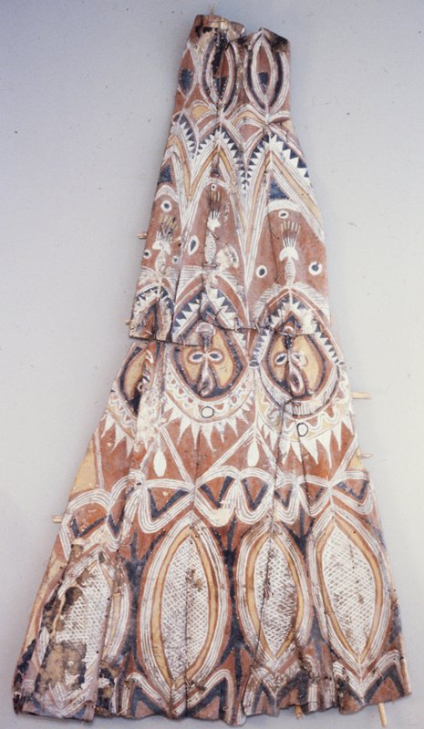 Yam Storehouse Gable; with painted spirit faces; rattan and earth pigments on palm fronds