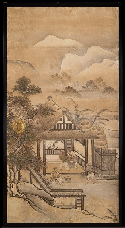 unsigned; from the Saga Palace, Kyoto; figures inside a building, mountains in background