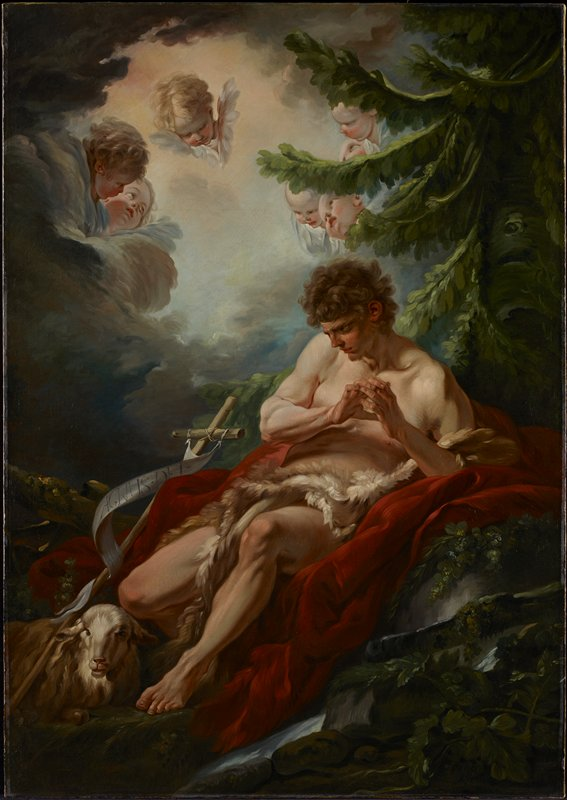 Saint John the Baptist in the Wilderness in a loin cloth reclining on red drapery under a tree by a stream with his hands clasped with the lamb and the cross by his side. in the clouds above are seven infant Angels' heads