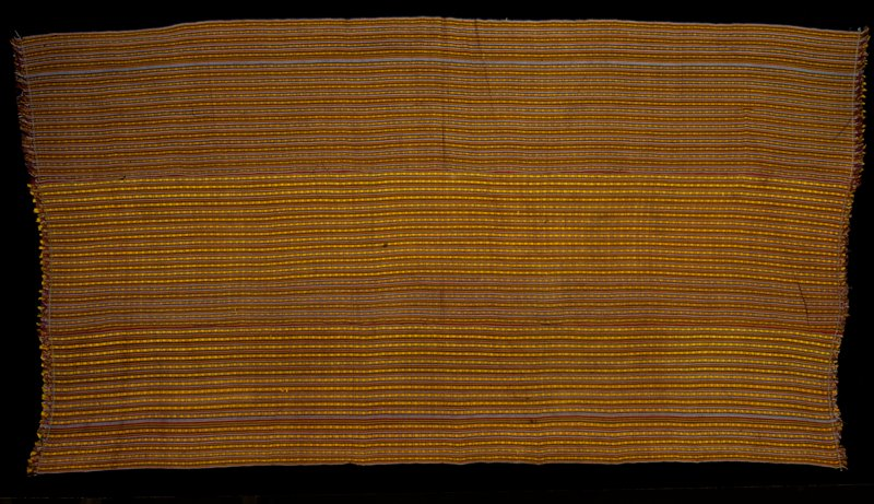 Kira, Mensi Mattha; silk/cotton striped brocade on silk/cotton background; L.106 in., W.53-1/2 in. 3 panels, multicolored stripes with yellow supplementary warp pattern; fringed.