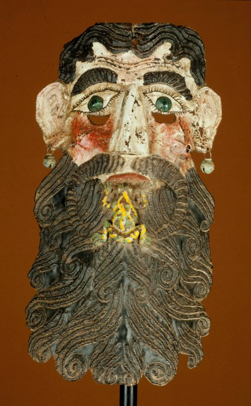 mask, hammered sheet copper with applique nose, cut-out frog attached over mouth, pendant copper bells