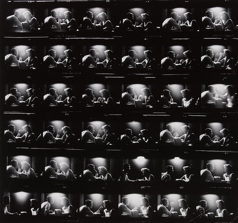 enlarged contact sheet of a conversation