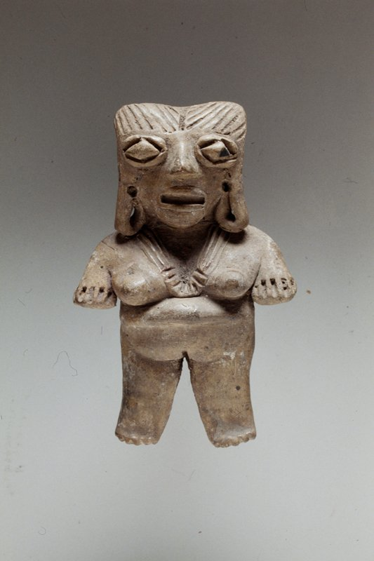 Standing female figure, solid burnished buff clay, arms at sides, incised necklace, hair and diamond eyes, West Mexican (Chupicuaro), 250 B.C.- 300 A.D.