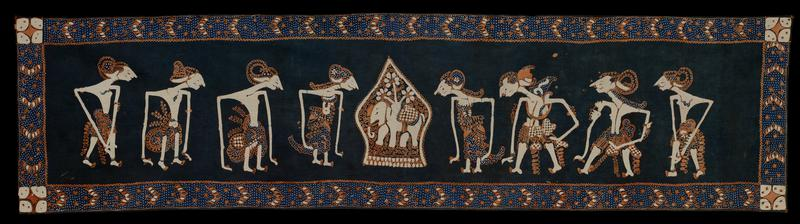 panel with puppet show figures, cotton, batik designs in brown, blue and white
