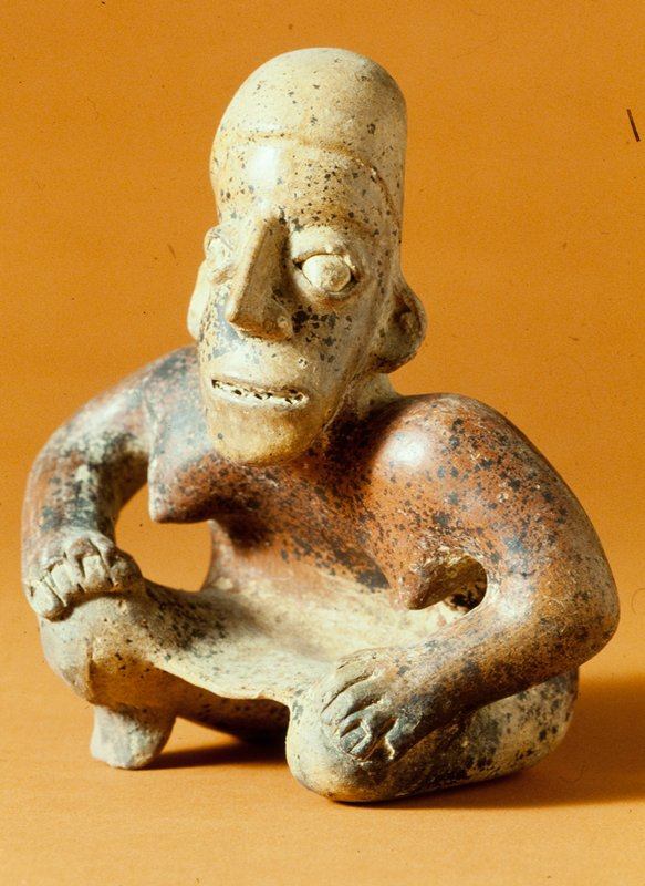seated female figure, clay with red, black and beige pigments, West Mexican (Nayarit), 100-500AD cat. card dims H 8-1/2 x W 8'