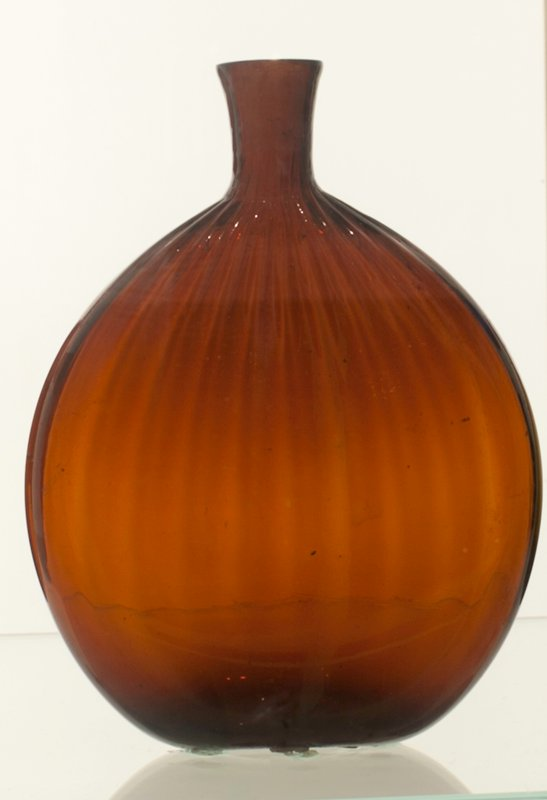 Grandmother's flask, deep amber glass, 24 vertical ribs; attributed to Zanesville; bottle and dishes from Ohio Manufacturers, 159 items in all, from the Walter Douglas Collection in Centerville, Ohio