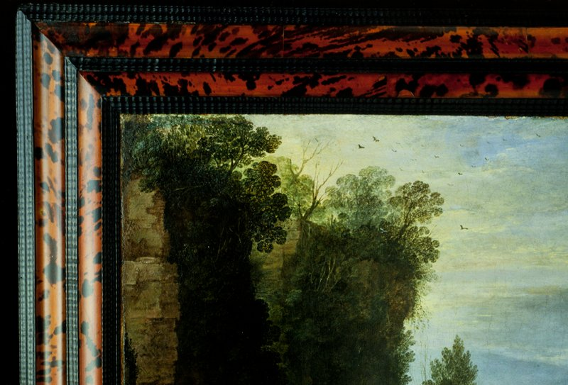Frame, Dutch XVII c., red tortoise shell and black ripple wood frame. Convex and concave bands of tortoise shell set between three strips of varying patterns. On 40.3, Paul Bril, 'Landscape with Men Playing Mail a la Chicane'.