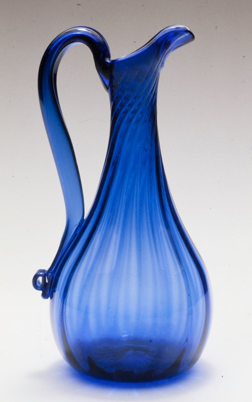 cruet, Pittsburgh, glass, sixteen ribs, cobalt blue, hollow handle. Stopper is not original to the cruet.