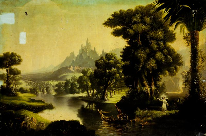 'Youth' from the 'Voyage of Life Series', in the style of Thomas Cole, copied by unknown artist; unframed, unwrapped.