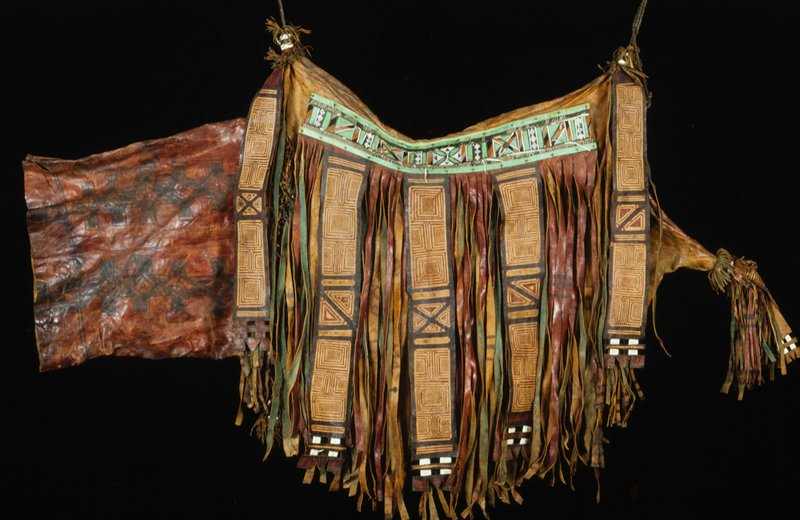 camel bag, leather, paint, applique, dye, embroidery, rope, African (Niger); stored in box (Simmons); painted, appliqued, embroidered, dyed and fringed; with rope for suspension
