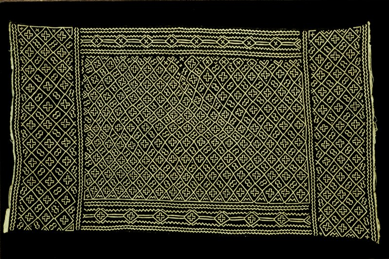 mudcloth skirt; design in central panel: Saa ni kili