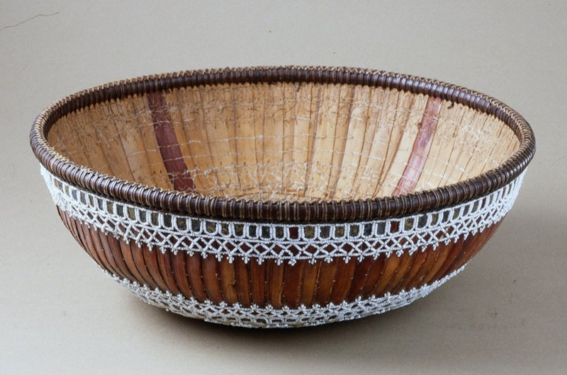 Temple Basket, fiber, stitching, beadwork, small beads and sequins