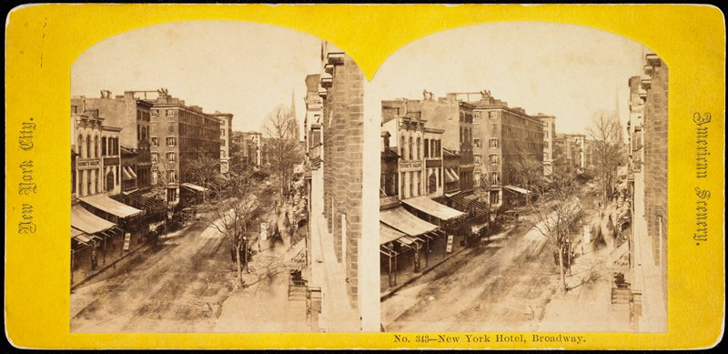 this fine street scene gives a clear view of Jeremiah Gurney's second photography gallery located at 349 Broadway, New York, ca.1860's.; from wet plate negative