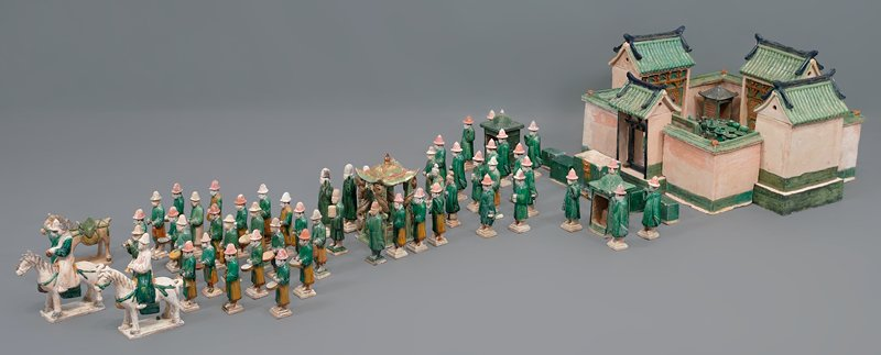 musician: horn carrier from wedding procession; three color glazed ceramic; one set of 33 pieces, including wedding party, palanquin, wedding chests, ceremonial food and wedding party