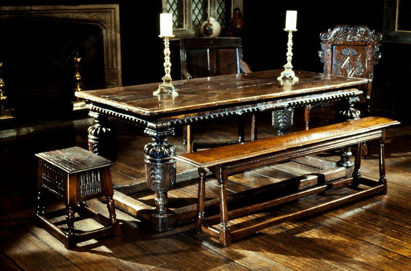 Table; with carved bulbous legs and inlaid side rails and stretchers