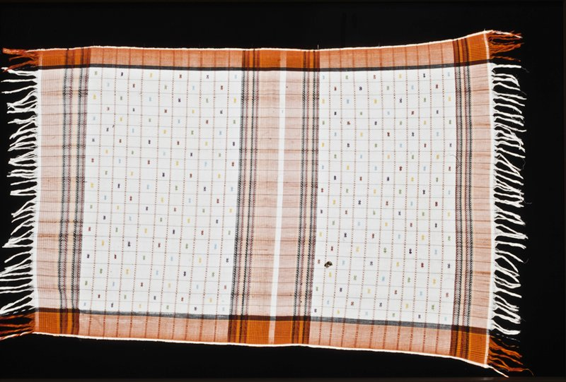 White ground, orange and red striped border supplementary weft patterning