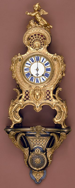 a. clock; b. wood piece to cover clock bell; c. cupid which surmounts bell; d. wall bracket