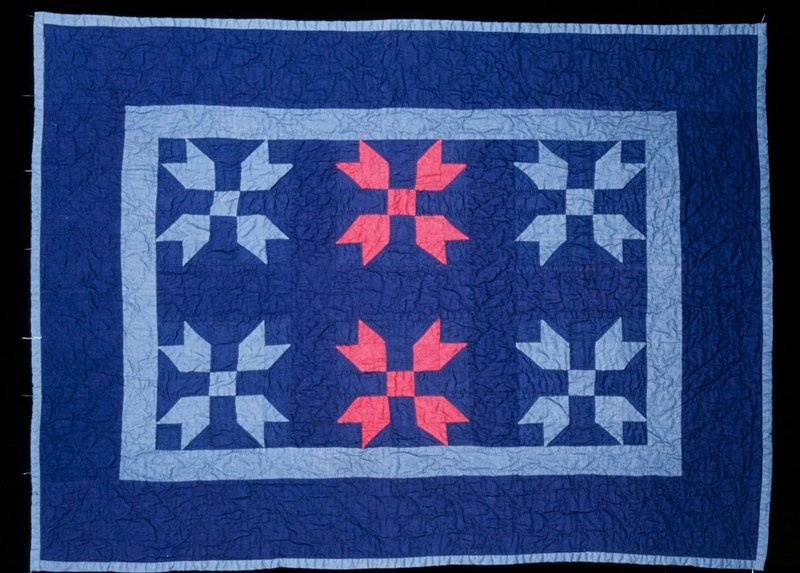 cotton patchwork, quilted; dark blue with red and medium blue pattern