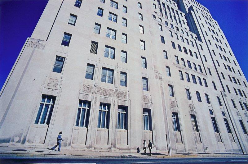 perpsective distortion building facade and blue sky, Atlanta