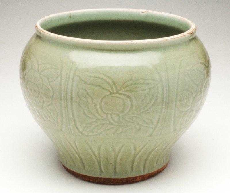 carved baluster celadon jar, ceramic, Ming