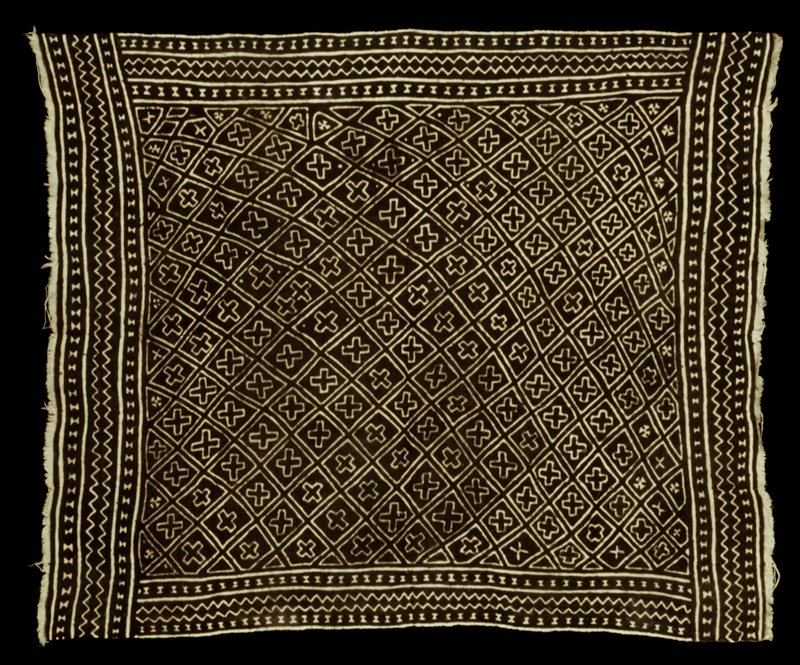 resist-dyed; Nansogo Kan design; natural and brown; overall cross motifs; borders of zigzag and connecting diamonds