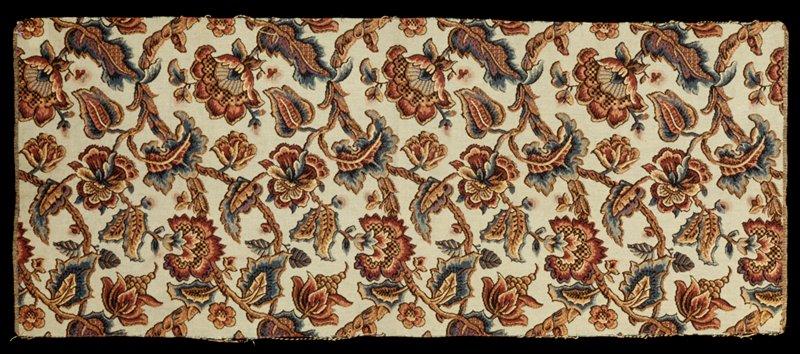 woven textile; Jacobean tree(?) on white ground French tag Echantillon