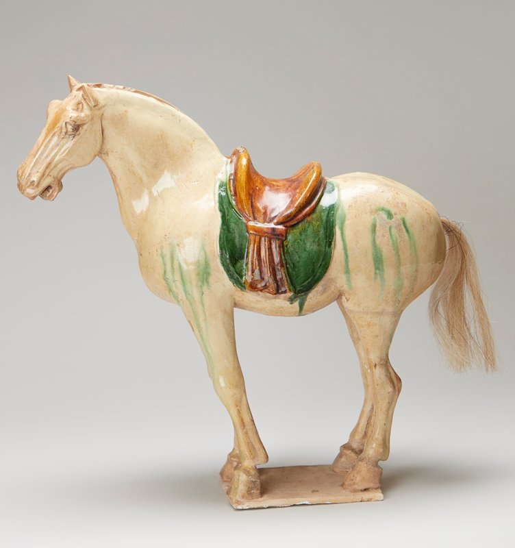 Sancai buff pottery standing horse; 3 color glaze