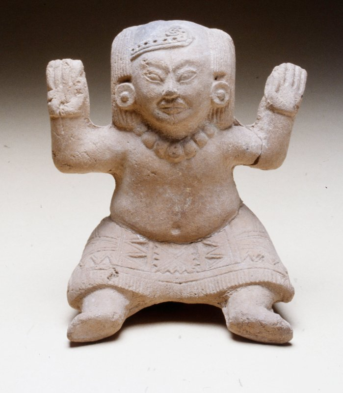 seated female figure, mold made, arms held up at sides, red earthenware