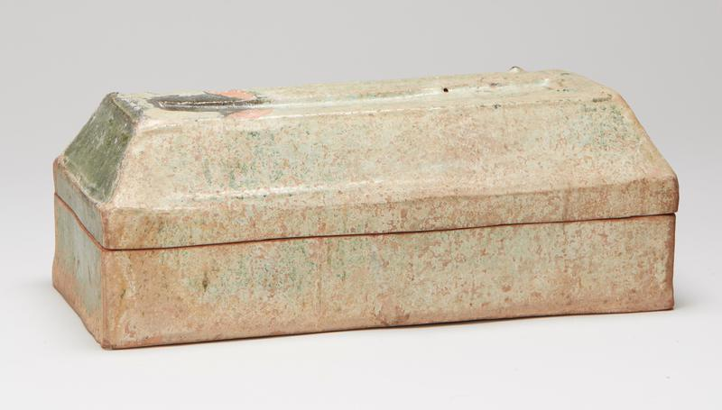 lidded box, earthenware with green lead glaze