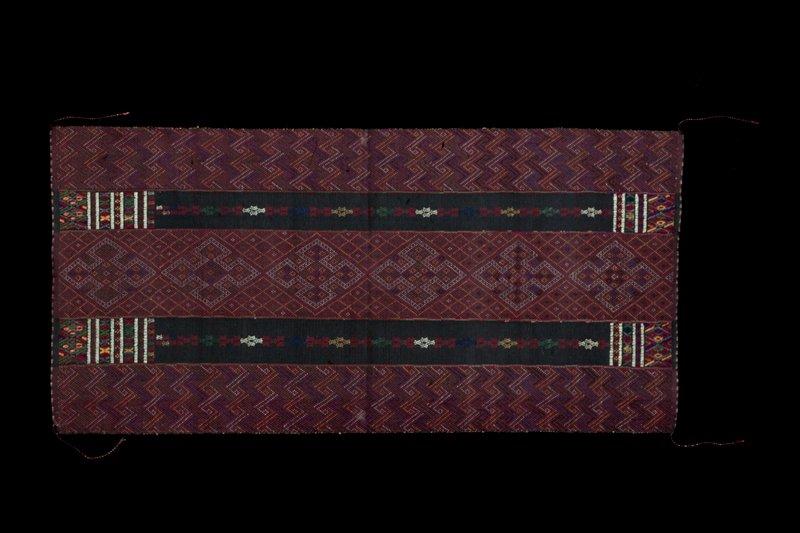 dark red; supplemental weft patterning; yellow, green, pink, light blue