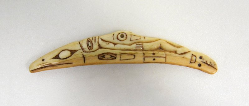 Shaman's Charm, Ivory with gold patination, N.Am.Ind.,Tsimshian or Tlingit,c.1860