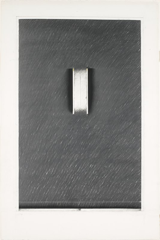 Predominantly black composition with a small white center