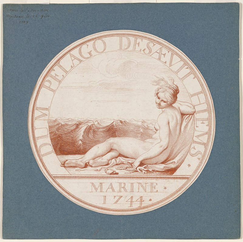 medallion design with birth of Venus; verso, on white paper, laid down on the blue mount in graphite: an architectural view with standing male figure with left hand, an overdoor gallery with a monkey holding a parrot