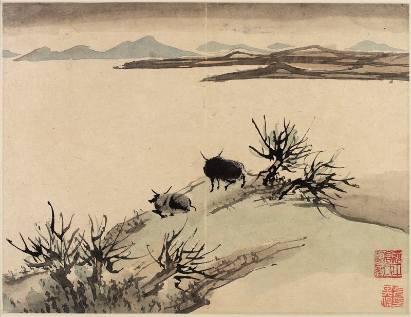 two horned animals with fingerprint bodies at top of a bluish-grey hill; large empty space in middle ground, blue and grey mountains beyond
