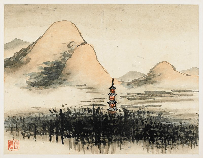 small, towerlike pagoda partially covered by dark grasses; rolling, rust colored mountains behind