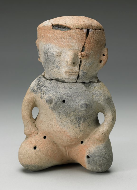 kneeling female figure with knees apart and hands resting on thighs; large flat head; 2 piercings in PL ear; holes at chest, hips, knees, crotch, back and back and top of head