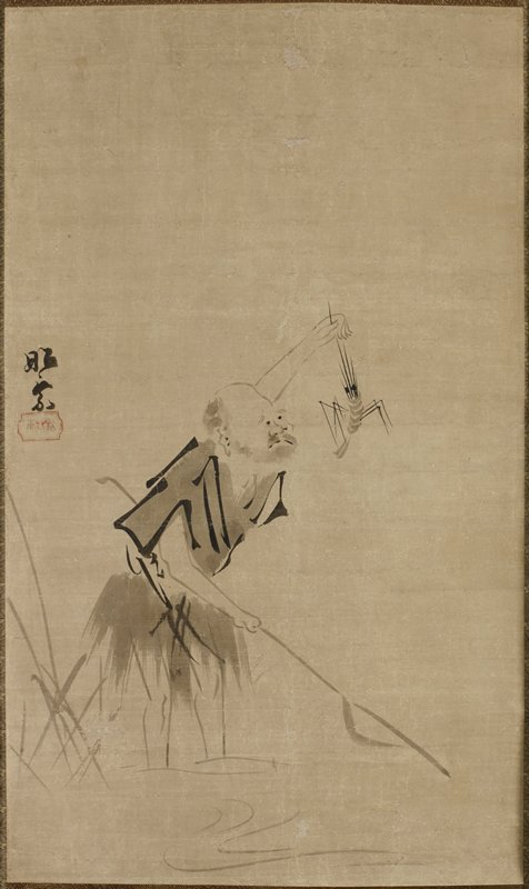 frowning, balding man with beard holding a staff (?) under his PR arm and holding up a large shrimp with his PL hand; water and grasses at bottom