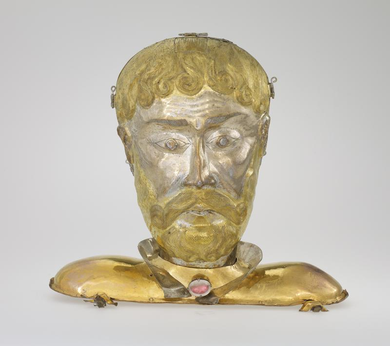 reliquary head of St. Theobald, silver, silver gilt; copper base with a paste jewel is a later addition; green leather case, c.1800, with gold lettering