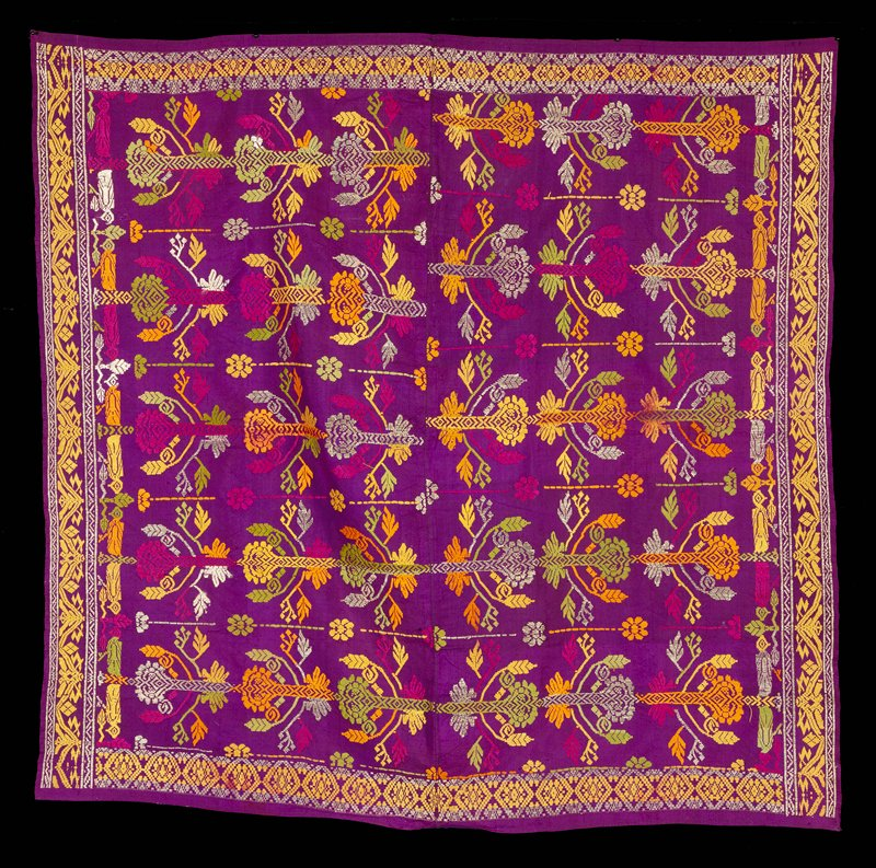 2 panels machine stitched together; purple silk ground with supplemental weft patterning-floral and bird designs in metallic, green, yellow, orange, pink; ends machine stitched