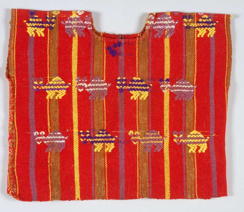 Small one panel huipil; red ground with purple, yellow and brown warp stripes, supplementary weft patterning; design consists of rows of zoomorphic figures in same colors as stripes plus deep purple.