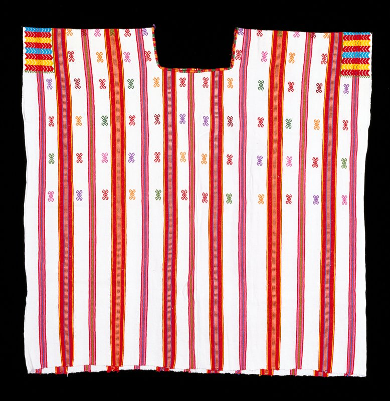 2 panels; white and red striped ground; red stripes contain multiple colors blue, yellow, pink; supplemental weft patterning in upper half and at arm openings